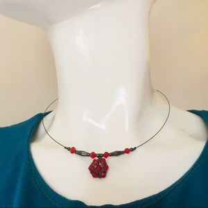 Vintage necklace choker red beads